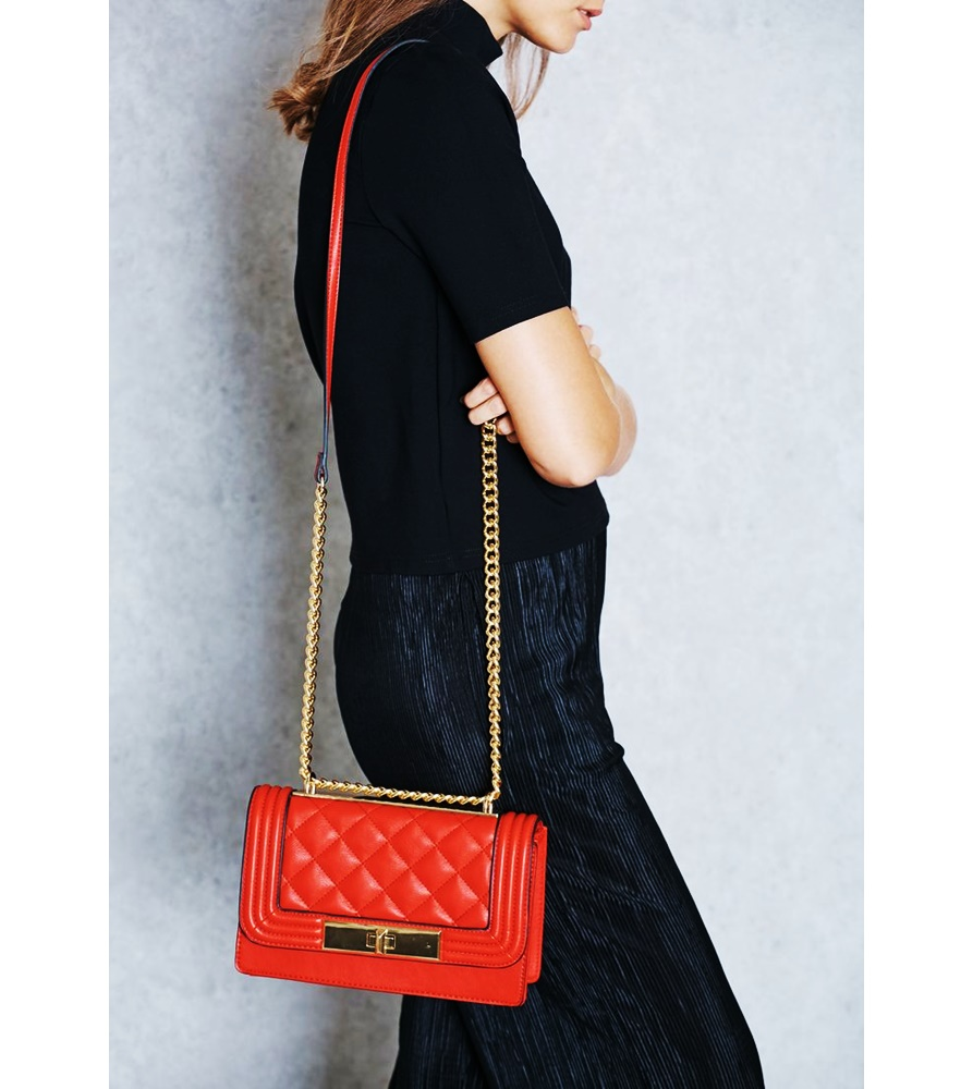 Aldo Derogali Chained Handbag Crossbody Red