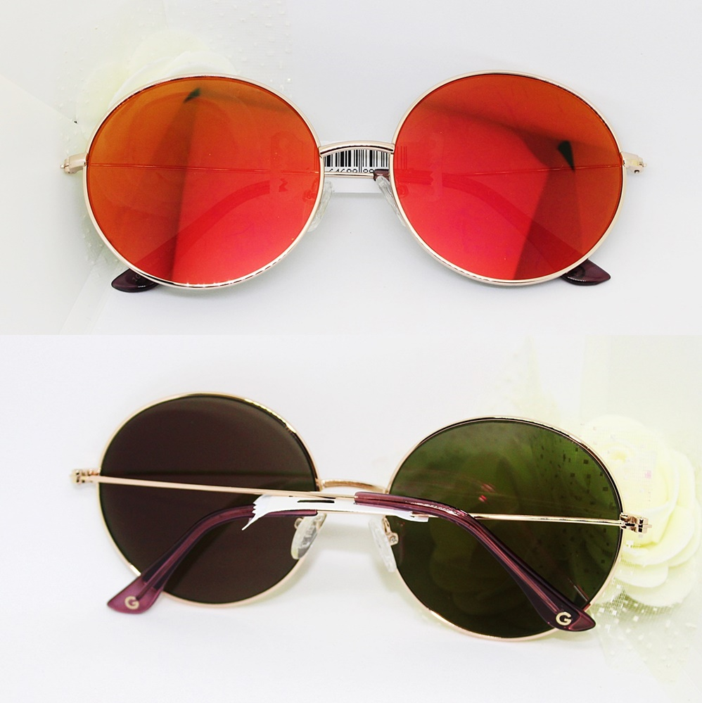 Guess Retro Round Mirrored Sunglasses Bordeaux/Black
