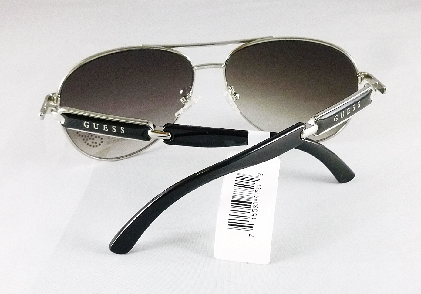 Guess Enamel Aviator Women Black Sunglasses