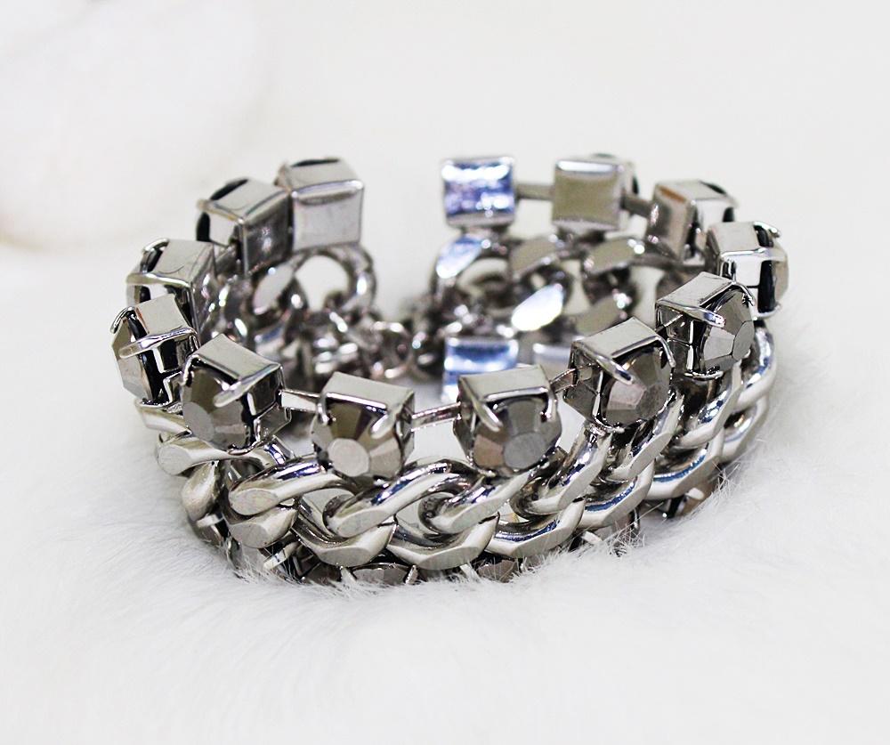 H&M Large Chained Gunmetal Bracelet