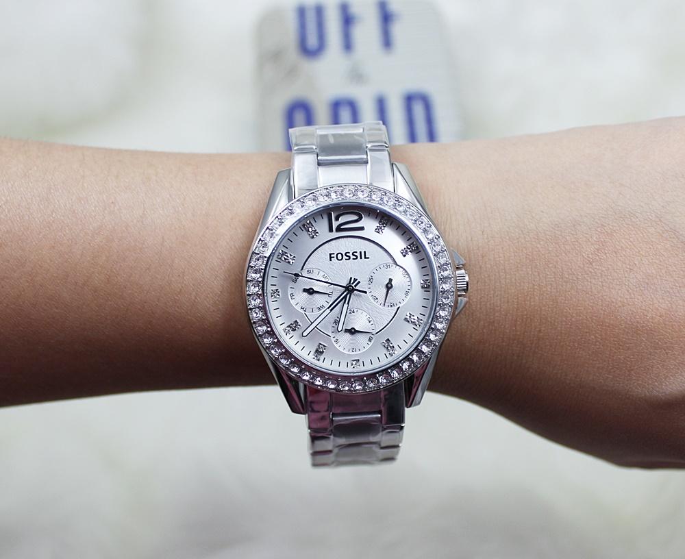 Fossil ES3203 Riley Diamond Multifunction Women Watch Silver