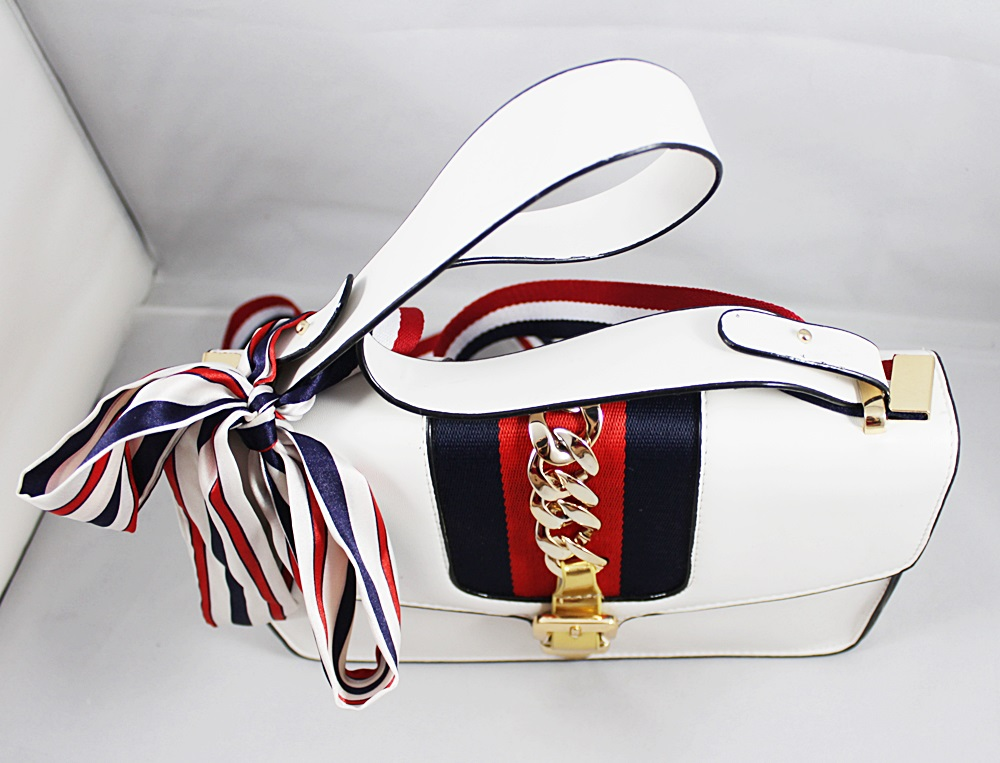 Fashion 2-in-1 Chain White Shoulder Sling Handbag