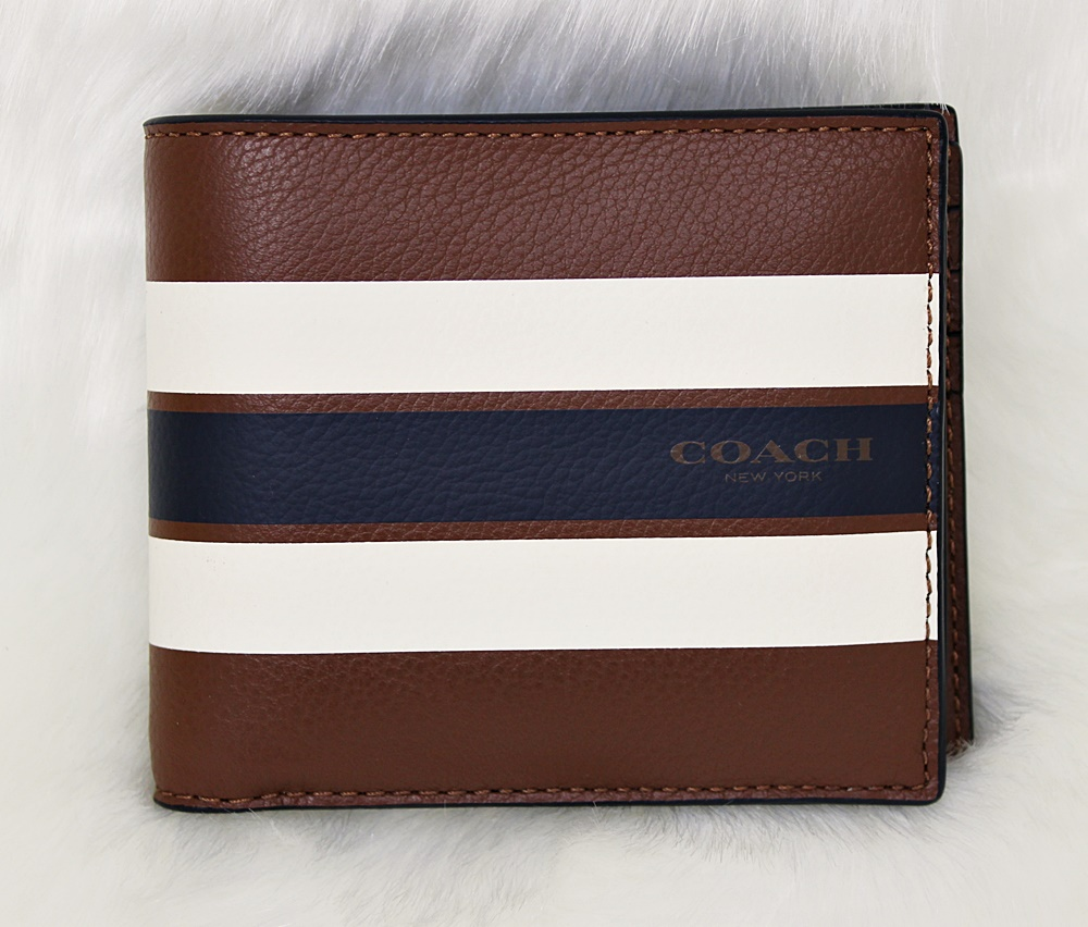 Coach F75399 Varsity Leather Compact Men Wallet Brown