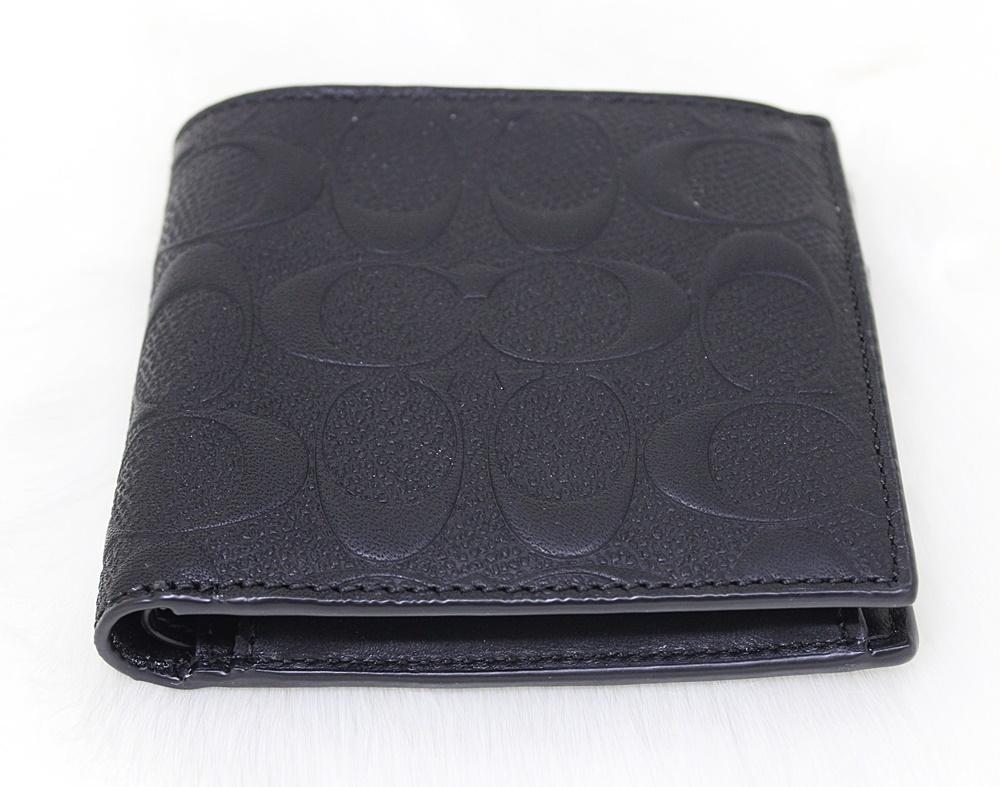 Coach F75363 Signature Crossgrain Leather Men Coin Wallet Black
