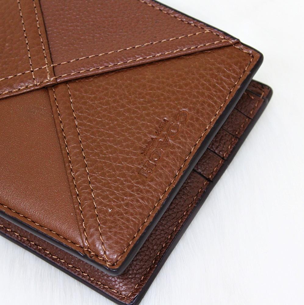 Coach F56599 Patchwork 3in1 Leather Men Wallet Cognac