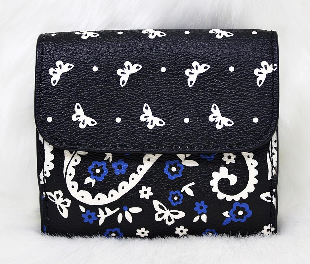 Coach F59725 Butterfly Bandana Print Small Wallet Black Lapis
