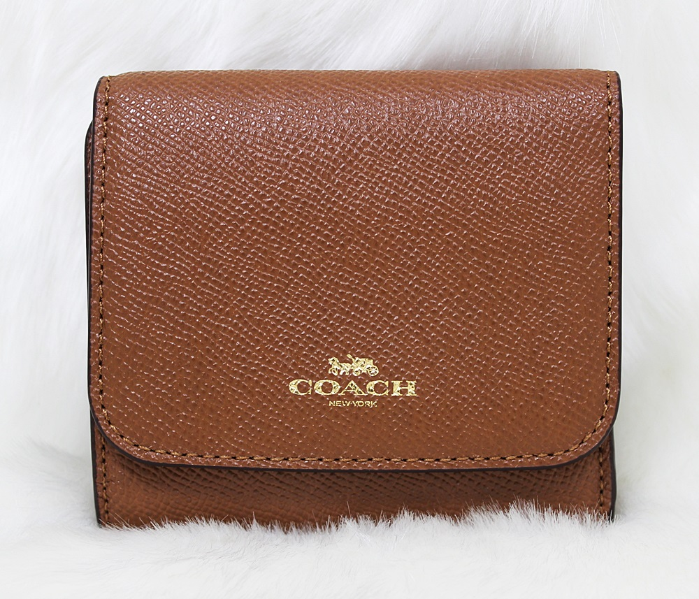 Coach F57584 Crossgrain Leather Trifold Small Wallet Saddle Brown