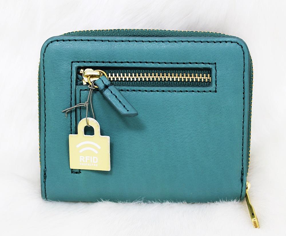 Fossil Emma Mini Multifunction Zip Wallet Teal Green