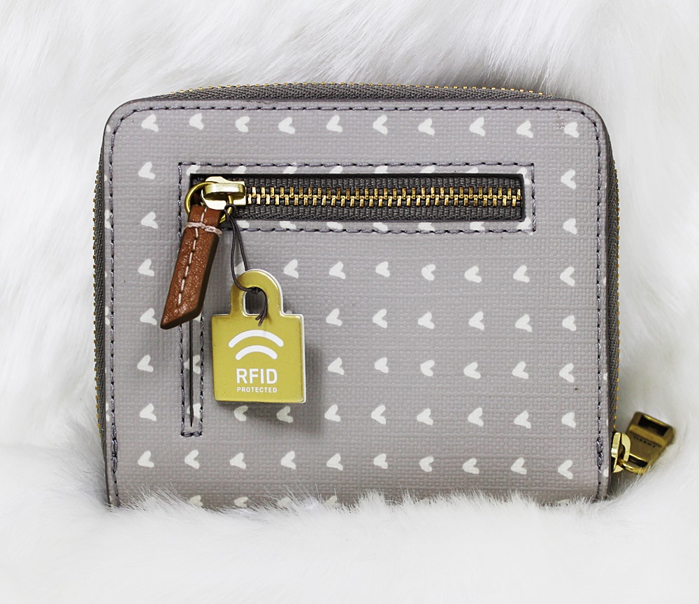 Fossil Emma Mini Multifunction Print Zip Wallet Grey/White